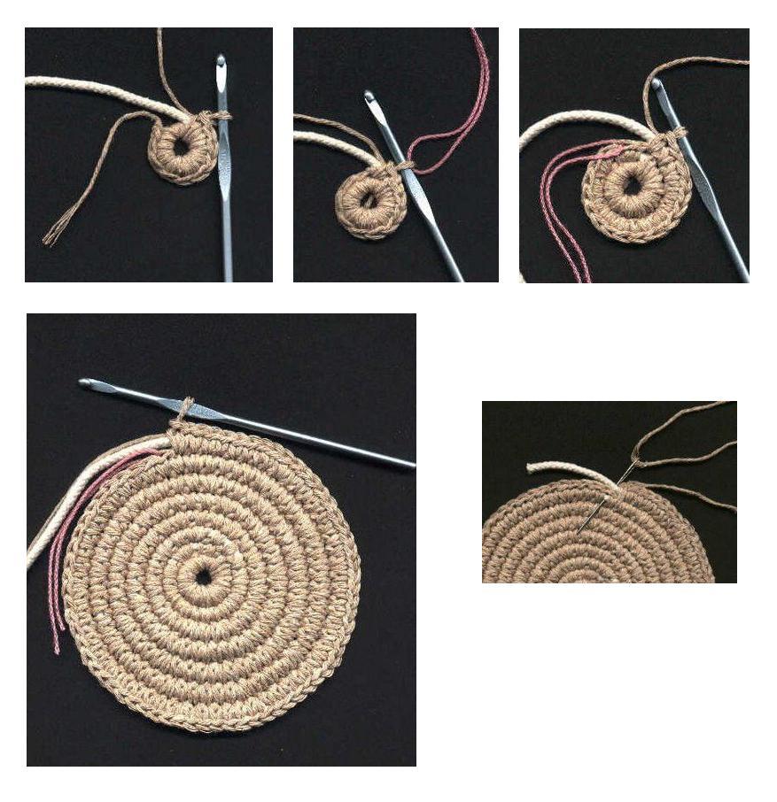 Вязание крючком. Вяжем донышко для сумки и укрепляем его шнуром