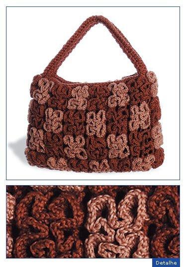 Вязание крючком. Вязаная сумочка с объемным узором.