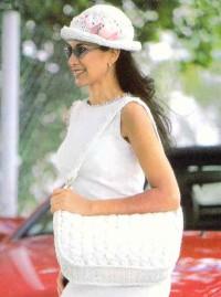 Вязание крючком. Элегантная белая сумочка.