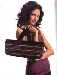 Вязание крючком. Стильная сумочка - лодочка.