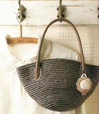 Вязание крючком. Сумочка из льна или атласных лент.