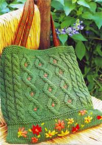 Вязание спицами. Сумочка с вышивкой.
