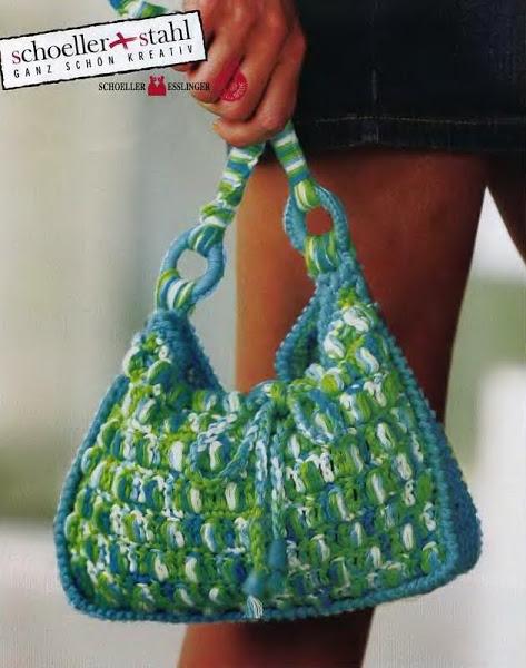 Вязание крючком. Бирюзовая сумочка.