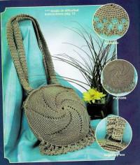 Вязание крючком. Круглая сумочка, связанная крючком.