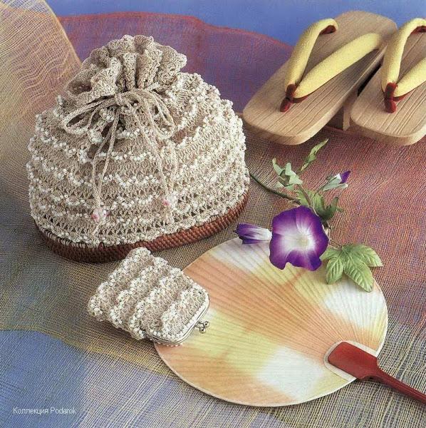 Вязание крючком. Сумочка - мешочек с отделкой бисером.